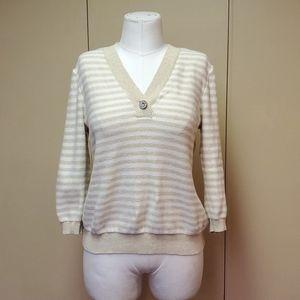 Ralph lauren cream and tan striped sweater